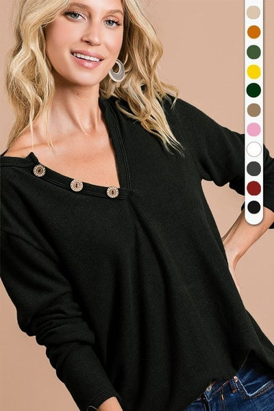 Charcoal Brushed Knit V- Neck top with buttons