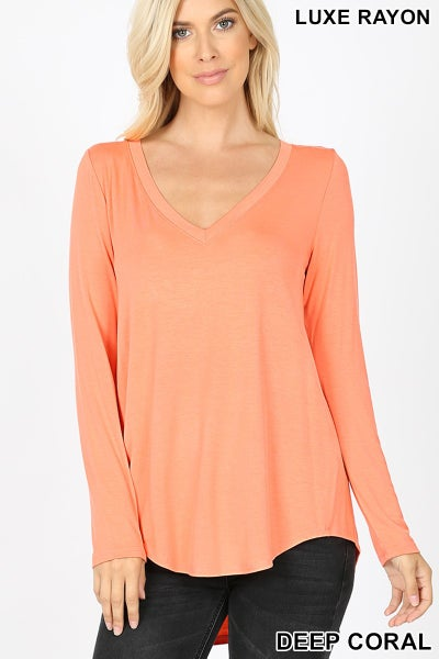 Deep Coral Luxe Rayon Long Sleeve Top