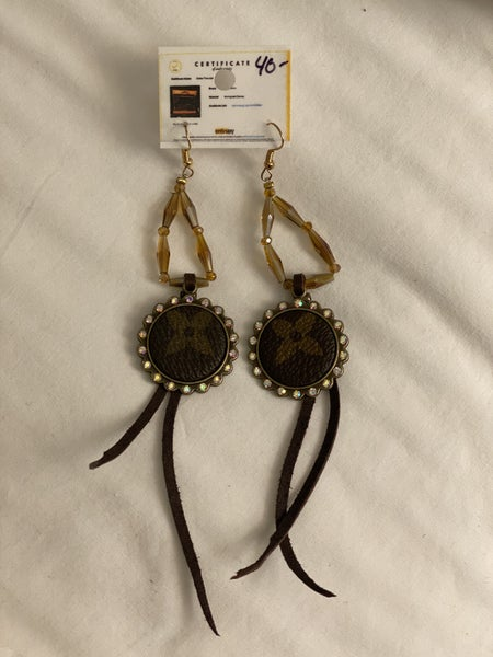 Upcycled Couture Beaded Dangle Charm Earrings