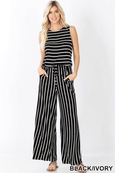 Black & Ivory Stripe Sleeveless Jumpsuit