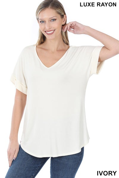 Zenana Ivory Luxe Rayon Short Sleeved V Neck Cuffed Top