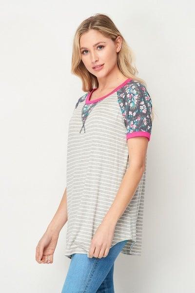 Honeyme Floral & Stripped Short Sleeve Top