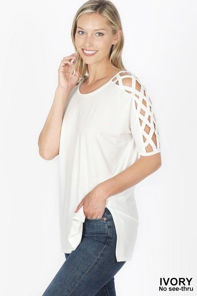 Zenana Ivory Criss Cross Tunic
