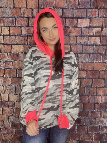 Camouflage Waffle Knit Hoodie