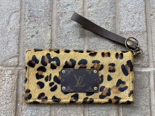 Upcycled Couture Leopard Hair On Wristlet!