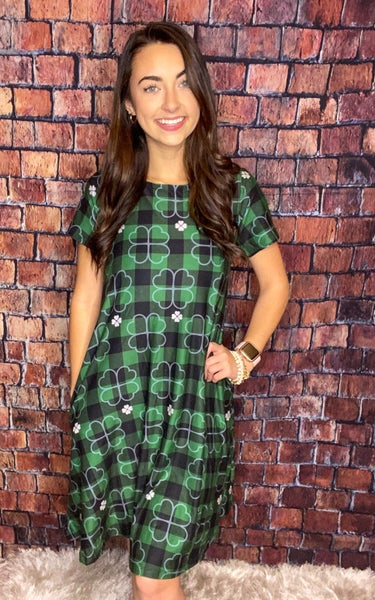 Plaid St Patrick's Dress With Side Pockets