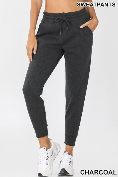 Zenana Charcoal Jogger Style Sweatpants