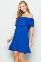 RUFFLED OFF SHOULDER JERSEY DRESS COBALT BLUE