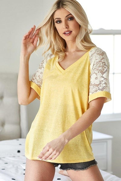Banana Yellow Triblend Lace Sleeve Top