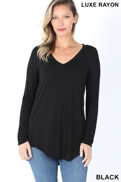 Black Luxe Rayon Short Sleeved V Neck Long Sleeve