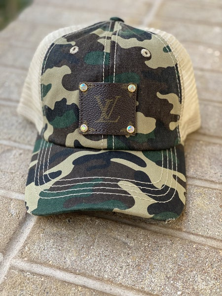 Upcycled Couture Baseball Hat Camo