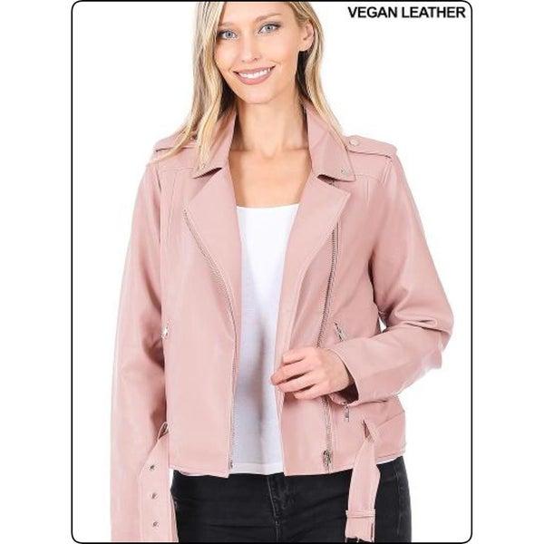 Blush Vegan Leather Moto Jacket