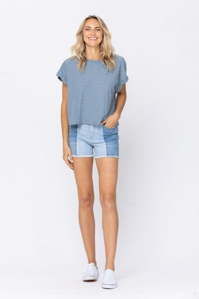 Judy Blue Contrast Panel Shorts High Rise