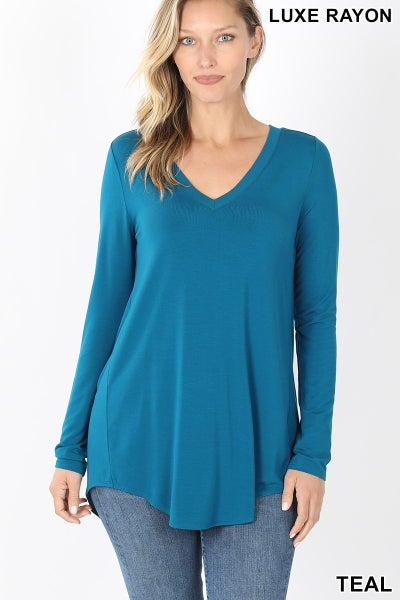 Teal Luxe Rayon Long Sleeved Top