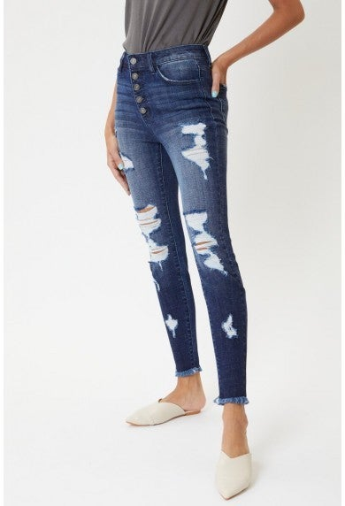 Kancan Plus High Rise Distressed Ankle Skinny