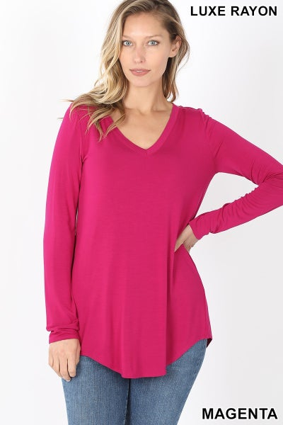 Magenta Luxe Rayon Long Sleeve Top