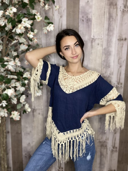 Navy Linen Blend Crochet Detail Half Sleeve Top with Tassel Hem