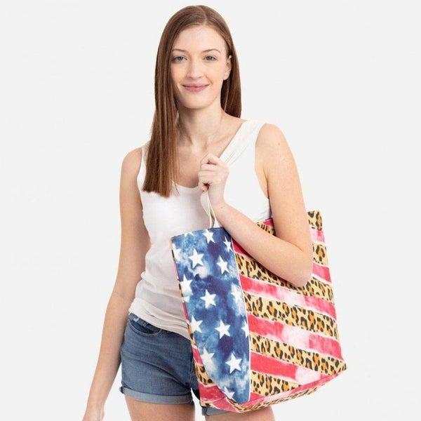 American Flag Print Tote