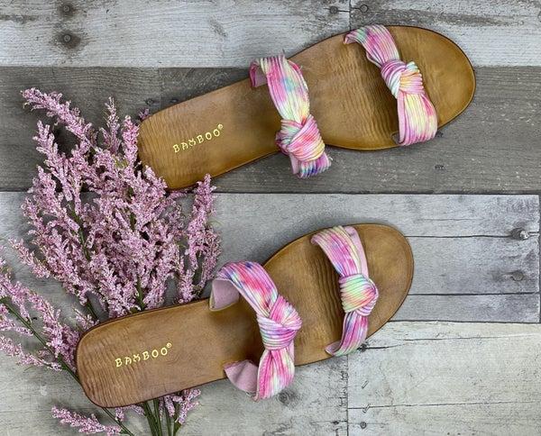 Tie Dye Double Strappy Sandals