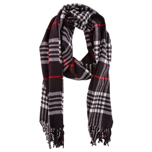 Soft Knit Plaid Oblong Scarf Featuring Fringe Tassels ** Multiple Colors