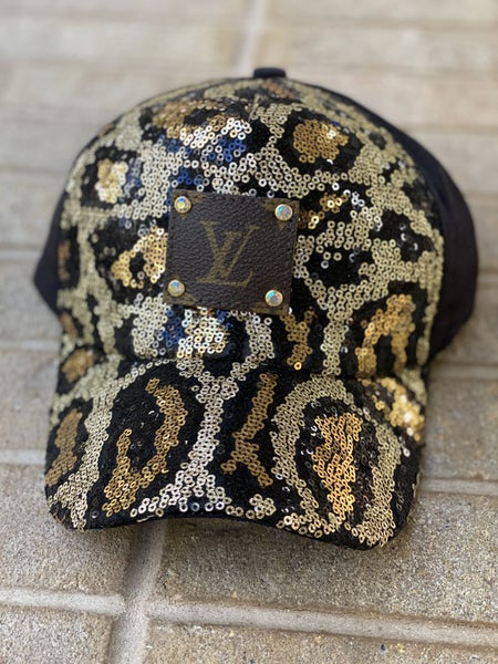 Upcycled Couture Baseball Hat Sequence Animal Print
