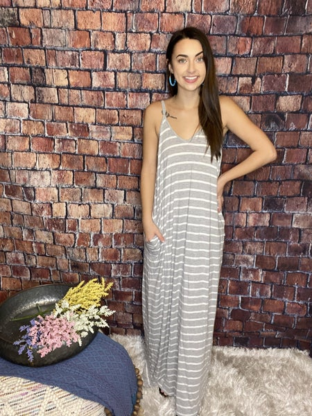 Zenana Grey & White Stripped Maxi Dress With Pockets