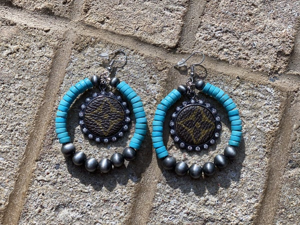 Upcycled Couture Teal Beaded Charm Earrings