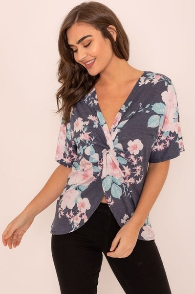 Floral Front Twist Tunic