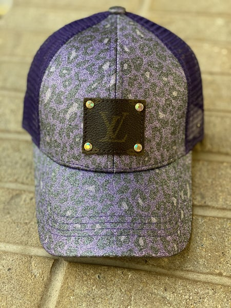 Upcycled Couture Baseball Hat Shimmer Purple Leopard