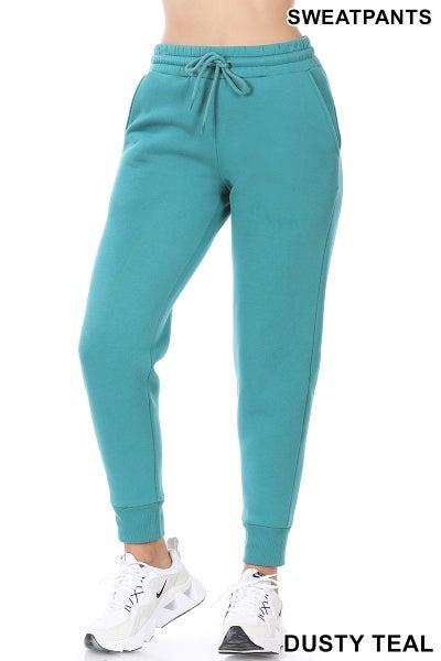 Zenana Dusty Teal Jogger Style Sweatpants