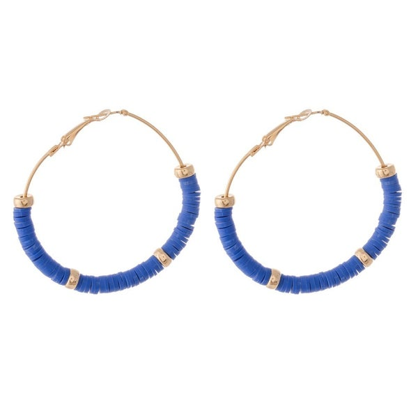 Blue  Beaded Hoop Earrings Featuring Gold Bead Accents