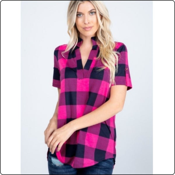 Heimish Pink & Black Baby Doll Top