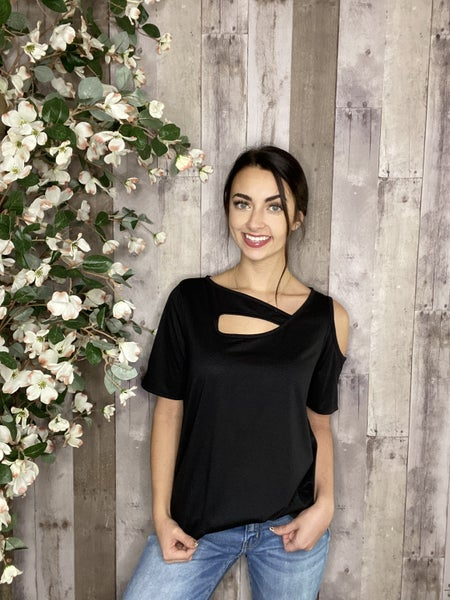 Solid Black Cold Shoulder Tee With Key Hole