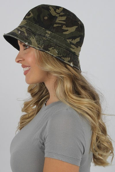 Distressed Vintage Camouflage Bucket Hat