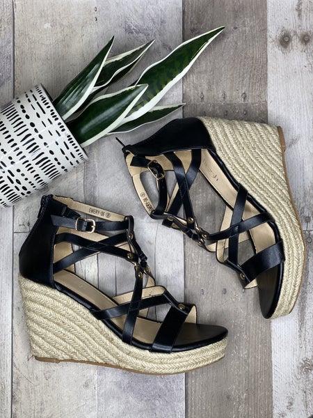 Hot Girl Summer Black Wedge Sandal