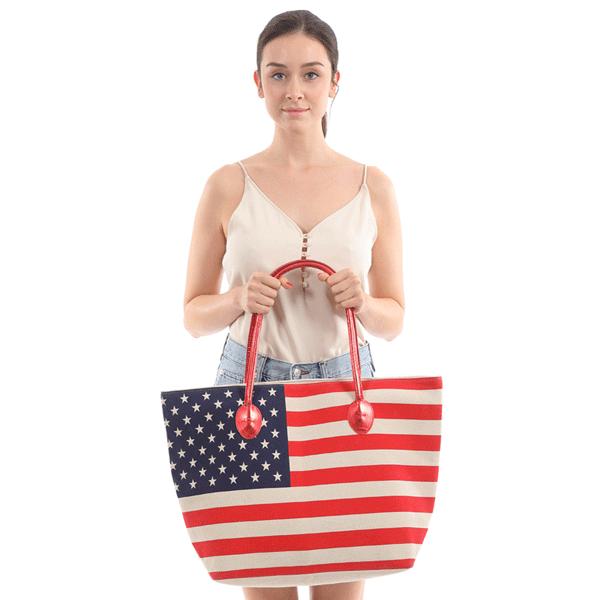 American Flag beach tote bag