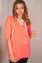 Neon Coral Short Sleeve Solid Criss Cross Top