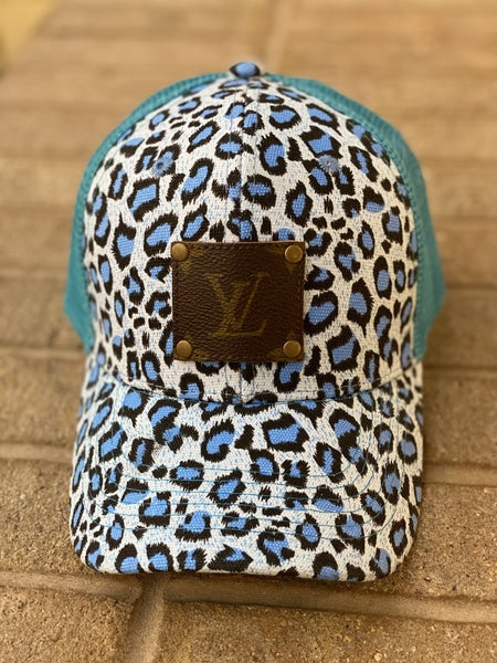Upcycled Couture Baseball Hat Teal Leopard