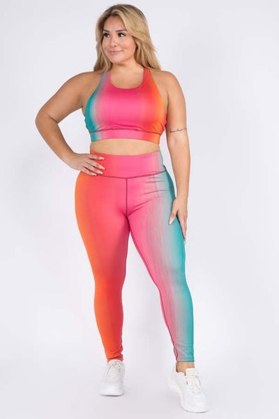 Ombre Color Printed Sports Work Out Pants