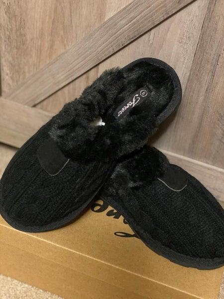 Black Fur Lined Slipper Shoes
