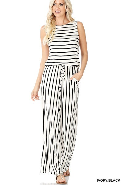 Ivory & Black Stripe Sleeveless Jumpsuit