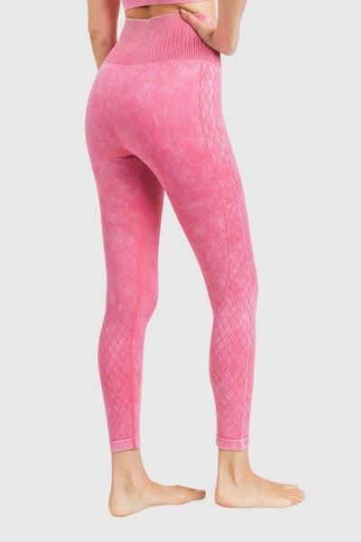 Mono B Pink  Lattice Seamless Mineral-Washed High Waist