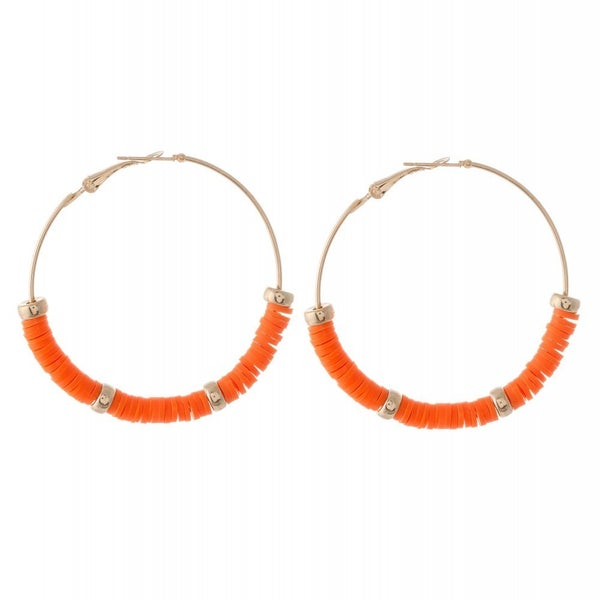Orange  Beaded Hoop Earrings Featuring Gold Bead Accents