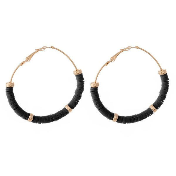 Black  Beaded Hoop Earrings Featuring Gold Bead Accents