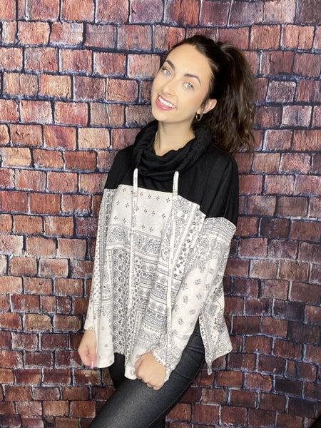 Bandana Print Knit Sweater