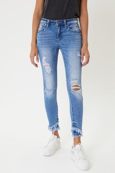 KanCan Denim Mid Rise Hem Detail Ankle Skinny Jeans
