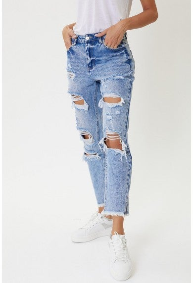 KanCan High Rise Distressed Boyfriend Jeans
