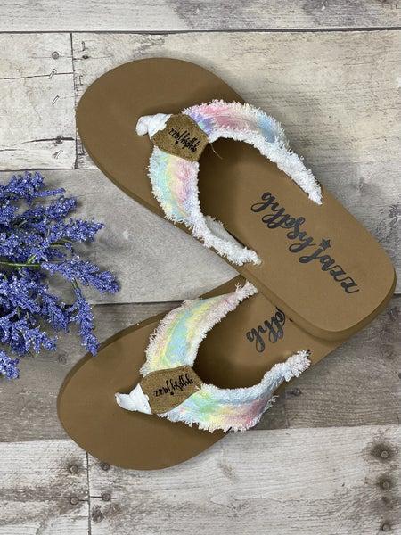 Gypsy Jazz Very G Pastel Tie Dye Distressed Sandals