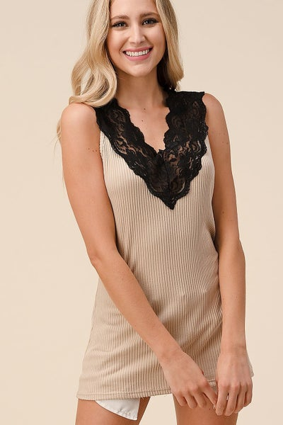 Lace V Neck Tank Top Black & Taupe
