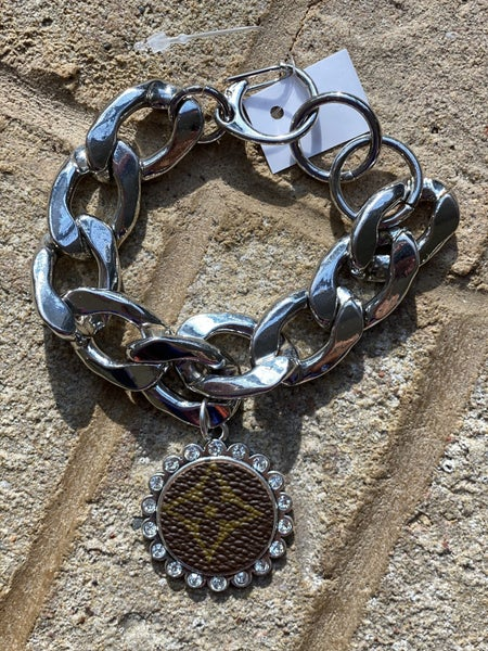 Upcycled Couture Silver Chunky Chain Charm Bracelet